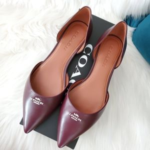 NEW Coach d'Orsay Pointed Toe Leather Flats - Wine